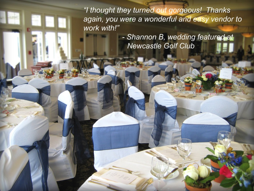 Newcastle Golf Club With Seattle's Best Chair Covers and Navy Blue Sashes